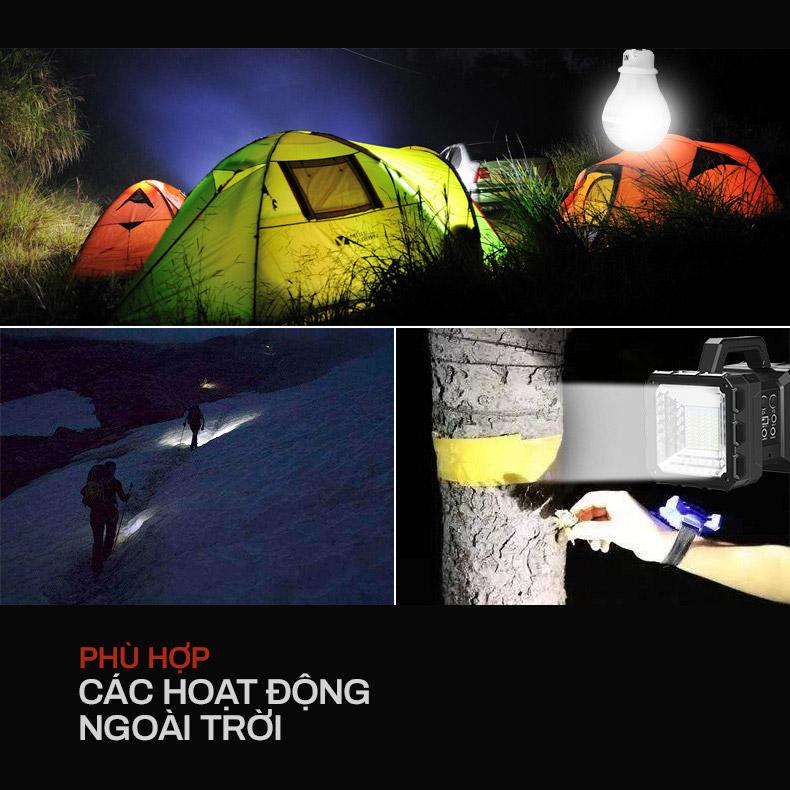 đèn xách tay năng lượng mặt trời phù hợp hoạt động cắm trại ban đêm