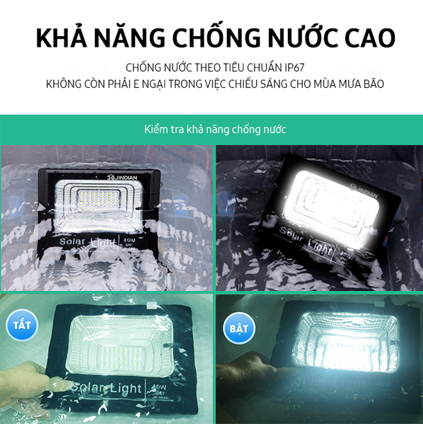 Khả năng chống nước chuẩn IP67 của đèn pha led năng lượng mặt trời