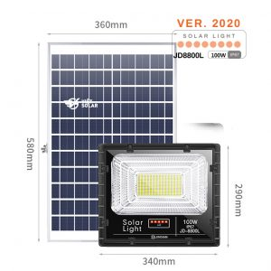 Đèn năng lượng mặt trời 100w chính hãng JD Solar được trang bị các tính năng hiện đại nhất