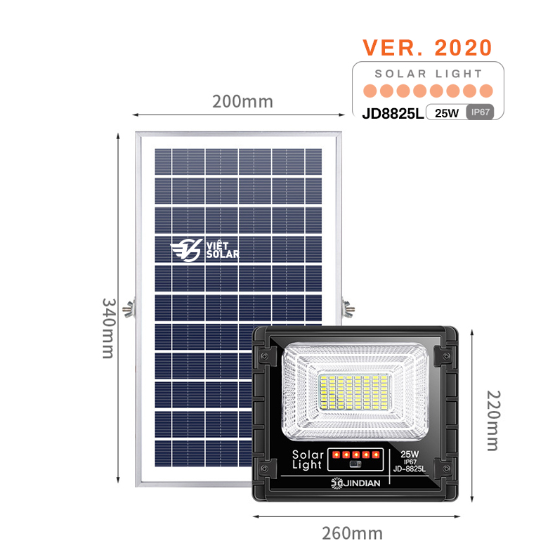 Đèn năng lượng mặt trời 25w chính hãng JD Solar được cải tiến và nâng cấp rất nhiều