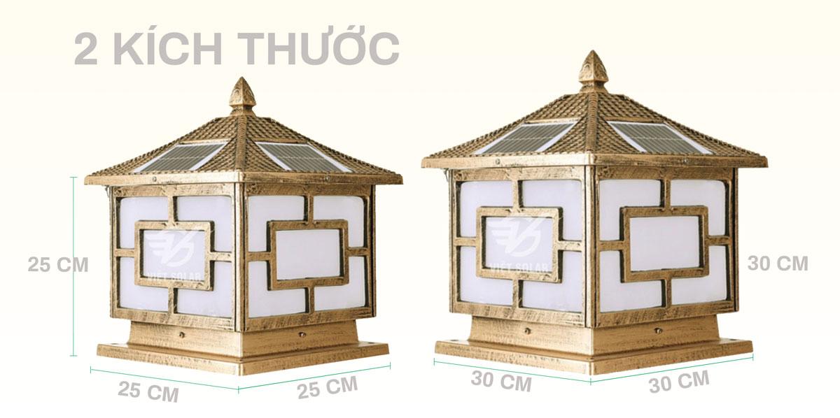 Đèn trụ cổng năng lượng mặt trời có 2 kích thước 25 và 30cm