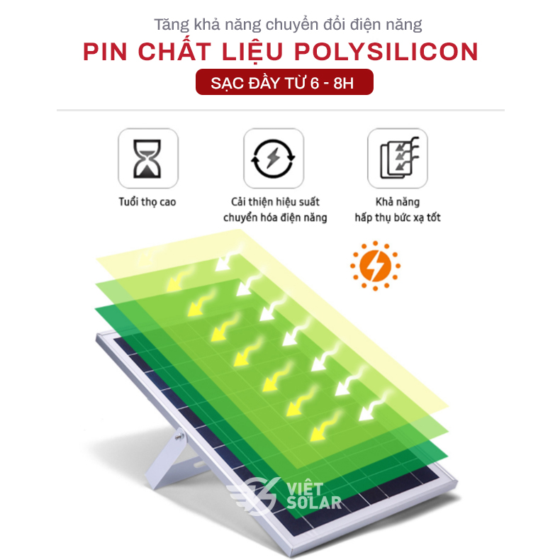 Tấm pin polysilicon của đèn năng lượng mặt trời cho tuổi thọ cao và khả năng hấp thụ cực tốt